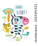 poster with little african... | Shutterstock .eps vector #1033391521