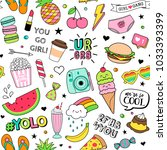 cute fun doodles seamless... | Shutterstock .eps vector #1033393399