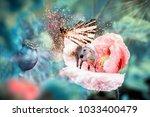 white fairy unicorn with...   Shutterstock . vector #1033400479