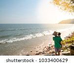 father takes his daughter to... | Shutterstock . vector #1033400629