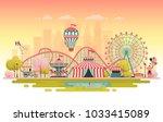 amusement park  urban landscape.... | Shutterstock .eps vector #1033415089