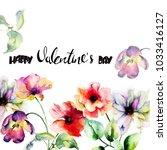 tulips and poppy flowers with... | Shutterstock . vector #1033416127