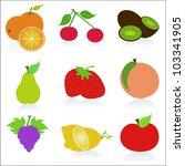 fruit icons vector | Shutterstock .eps vector #103341905