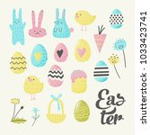 happy easter elements set with... | Shutterstock .eps vector #1033423741