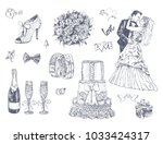 hand drawn wedding and marriage ... | Shutterstock .eps vector #1033424317