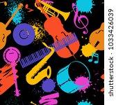 jazz music seamless pattern...   Shutterstock .eps vector #1033426039
