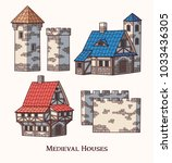 medieval ancient buildings set... | Shutterstock .eps vector #1033436305