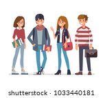 group of young students. flat... | Shutterstock . vector #1033440181