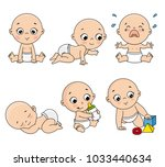 baby set in different poses... | Shutterstock .eps vector #1033440634