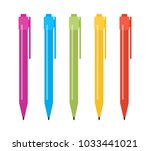 set of five multi colored pens. ... | Shutterstock .eps vector #1033441021