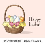 hand drawn easter gift card...   Shutterstock .eps vector #1033441291
