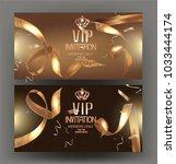 vip golden banners with... | Shutterstock .eps vector #1033444174