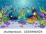 marine habitats and the beauty... | Shutterstock .eps vector #1033446424