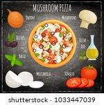 vector mushroom pizza.... | Shutterstock .eps vector #1033447039