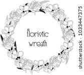 black hand drawn floristic... | Shutterstock .eps vector #1033447375