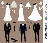 wedding card with the clothes... | Shutterstock .eps vector #1033448647