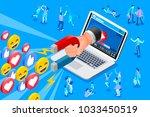 social influencer concept.... | Shutterstock . vector #1033450519