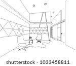 interior outline wireframe... | Shutterstock .eps vector #1033458811