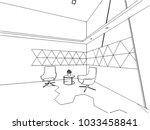 interior outline wireframe... | Shutterstock .eps vector #1033458841