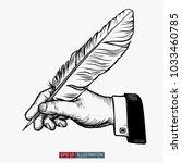 hand drawn hands holding... | Shutterstock .eps vector #1033460785