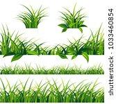 spring green grass borders set... | Shutterstock .eps vector #1033460854