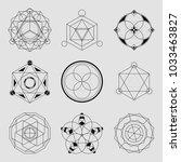 set of 6 geometrical elements.... | Shutterstock .eps vector #1033463827