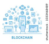 blockchain technology line... | Shutterstock .eps vector #1033468489