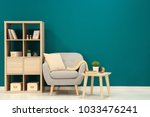 trendy living room interior... | Shutterstock . vector #1033476241