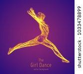 vector dancing girl in a jump...   Shutterstock .eps vector #1033478899