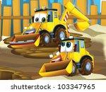 Father and son excavators - stock photo