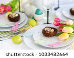 beautiful table setting with... | Shutterstock . vector #1033482664