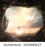 good friday concept  empty tomb ... | Shutterstock . vector #1033483627