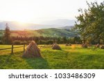 haystack on sunset. meadow ... | Shutterstock . vector #1033486309