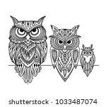 ornate owl  zenart for your... | Shutterstock .eps vector #1033487074