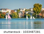sailing boats on the lake of... | Shutterstock . vector #1033487281