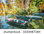 old vintage colorful boats on... | Shutterstock . vector #1033487284