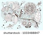 flora. hand drawn doodle | Shutterstock .eps vector #1033488847