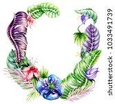 postcard  watercolor  flowers ... | Shutterstock . vector #1033491739