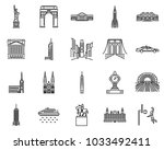 new york icons line style sets. ... | Shutterstock .eps vector #1033492411