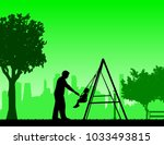 father swinging child on a... | Shutterstock .eps vector #1033493815
