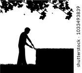 young gardener trimming a bush... | Shutterstock .eps vector #1033493839