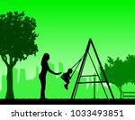 mother swinging child on a... | Shutterstock .eps vector #1033493851