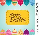 happy easter message in yellow... | Shutterstock .eps vector #1033495471