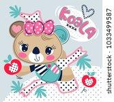 cartoon cute koala bear girl... | Shutterstock .eps vector #1033499587