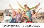 travel people having fun taking ... | Shutterstock . vector #1033502629