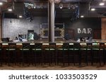 bar counter with bar chairs in... | Shutterstock . vector #1033503529