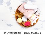 spa setting on wooden tray  ... | Shutterstock . vector #1033503631