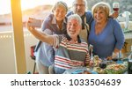 happy seniors friends taking a... | Shutterstock . vector #1033504639