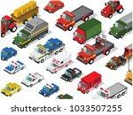 set of isometric cars trucks | Shutterstock .eps vector #1033507255