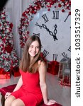 girl near the decorated... | Shutterstock . vector #1033517329